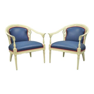 Cream Lacquered Chinoiserie Blue Barrel Back Lounge Club Arm Chairs - A Pair For Sale