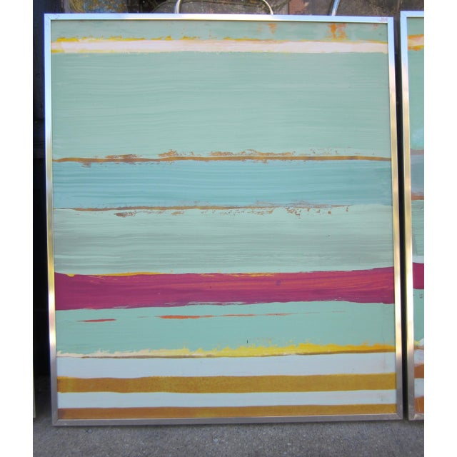 Abstract 1980s Vintage Four Panel Abstract Geometric Seaside Pastel Horizontal Line Paintings - Set of 2 For Sale - Image 3 of 12
