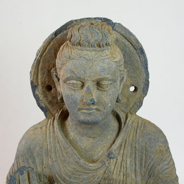 Asian Gandhara Schist Sculpture of the Seated Buddha For Sale - Image 3 of 4