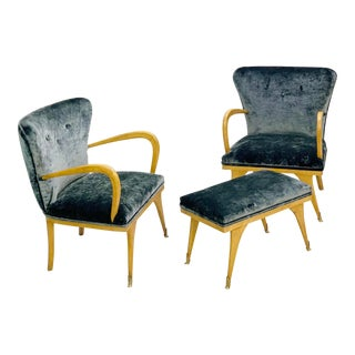 Italian Armchairs and Ottoman- Set of 3 For Sale