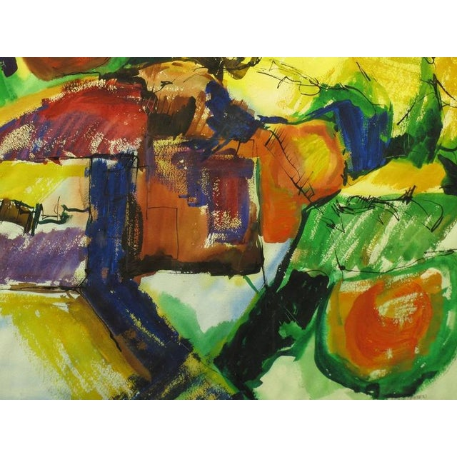 Anne Jansen Water Color and Ink Abstract Painting, circa 1970 For Sale In Chicago - Image 6 of 7