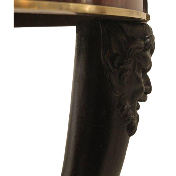 Carved Fauna Head Empire Tripod Pedestal Table in Mahogany, Marble & Giltbronze For Sale