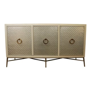 French Regency Silver Leaf Fish Scale Lacquer Wood Media Console/Credenza