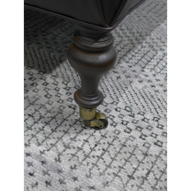 Modern Dark Leather Tufted Ottoman/Coffee Table For Sale In Chicago - Image 6 of 9