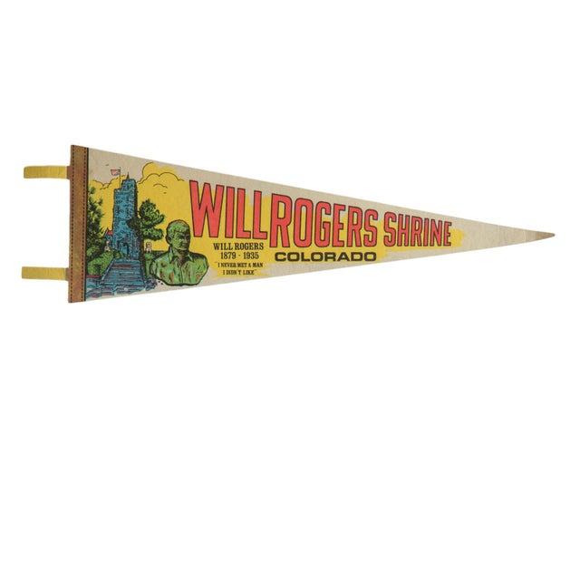 Illustration Vintage Will Rogers Shrine Colorado Felt Flag Pennant For Sale - Image 3 of 3