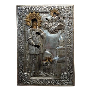 18th Century Elaborate Silver Russian Icon of St.Barbara- Oil Painting For Sale
