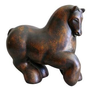 Modernist Bronze Horse Sculpture For Sale