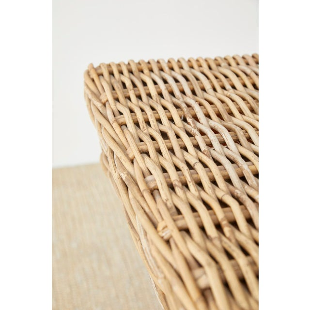 Woven Wicker and Rattan Pedestal Center Table For Sale - Image 9 of 13