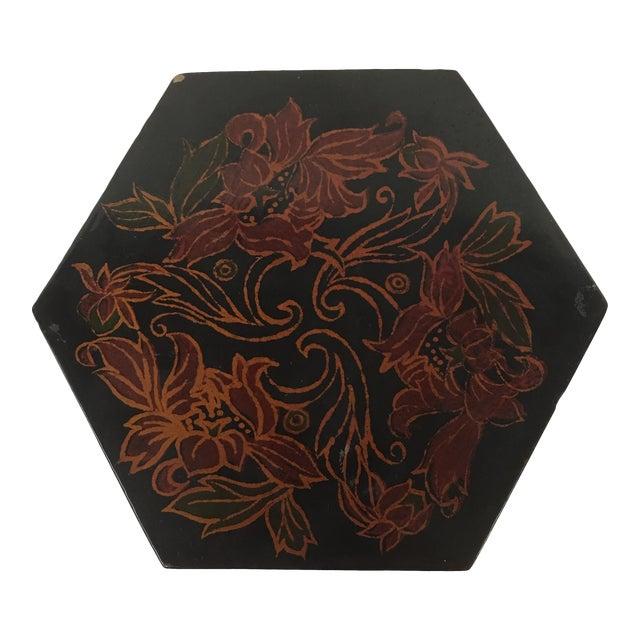 Vintage Black Lacquer Hexagon Box For Sale