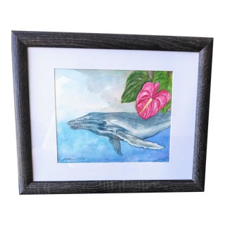"""""""Whale & Anthurium Flower"""" Contemporary Botanical Aquatic Watercolor Painting, Framed For Sale"""