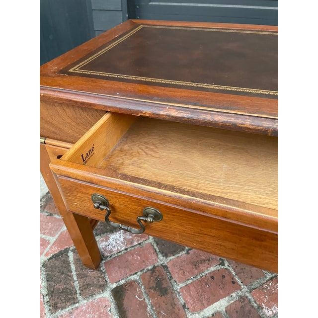 Metal Vintage Lane Altavista Mahogany, Brass, Leather Desk For Sale - Image 7 of 9