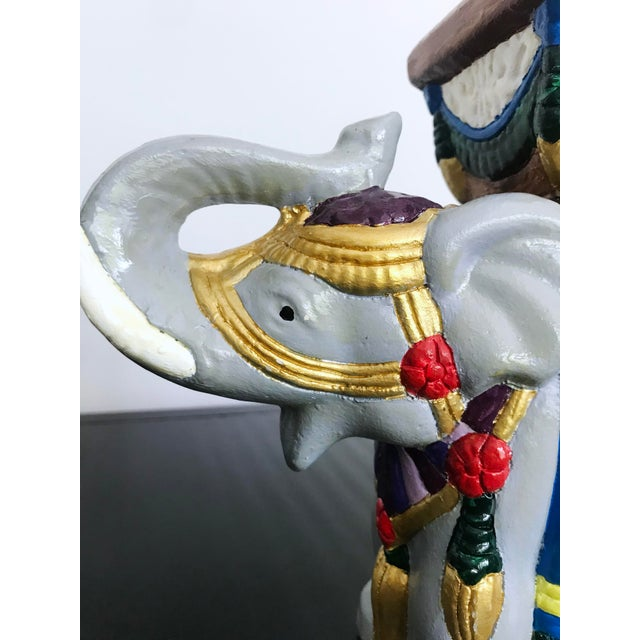 Gold Vintage 1960's Hand-Painted Ceramic Elephant Planter For Sale - Image 8 of 13