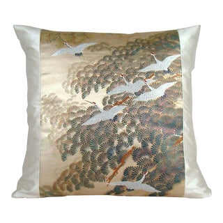Flying Cranes Japanese Silk Obi Pillow Cover For Sale