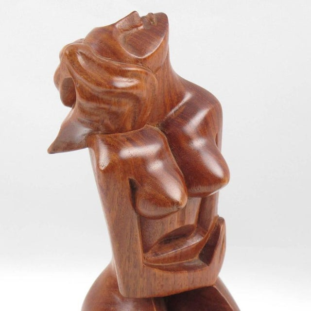 Black Marble Mid-Century Cubist Carved Mahogany Woman Sculpture For Sale - Image 7 of 11