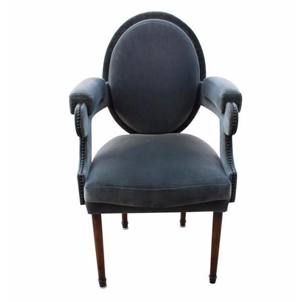 Provence Blue Velvet Dining Chair - Image 1 of 4