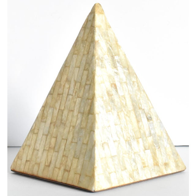 Cream Vintage Mother of Pearl Inlaid Pyramid Curio For Sale - Image 8 of 8