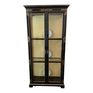 Kindel Neoclassical Black Gold Cherry Wood Illuminated Display Cabinet For Sale