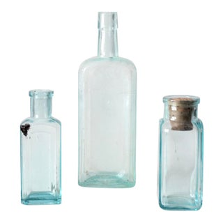 Antique Blue Glass Apothecary Bottles - Set of 3 For Sale