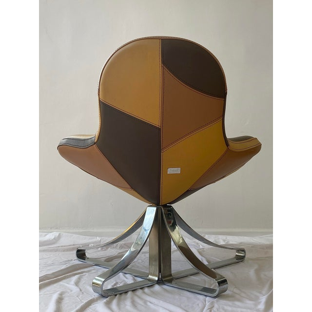 Postmodern 1970s Italian Leather Lounge Chair For Sale - Image 3 of 6