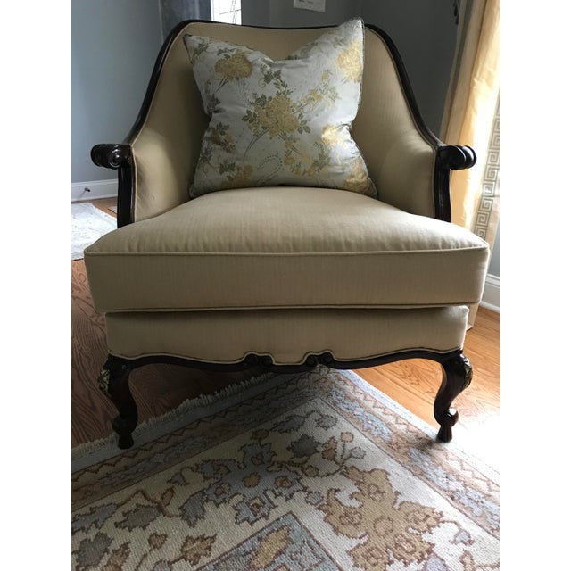 Mid 20th Century Century Furniture Chair & Ottoman With Floral Pillow - a Pair For Sale - Image 5 of 10