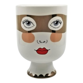 Double-Sided White Ceramic Face Vase For Sale