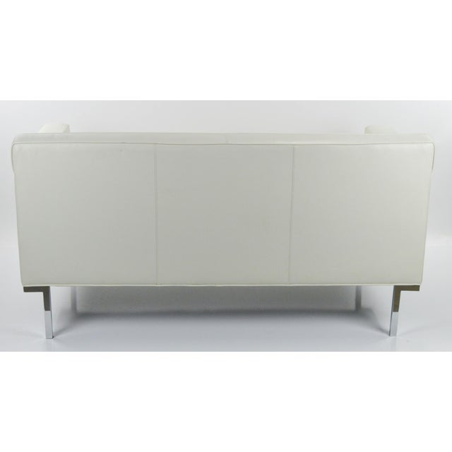 Off White Leather Two Seat Sofa by DWR - Image 9 of 9