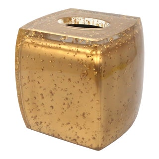 Gold Flake Lucite Tissue Box Cover For Sale