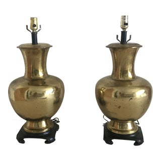 Pr. Brass Plated Asian Modern Lamps For Sale