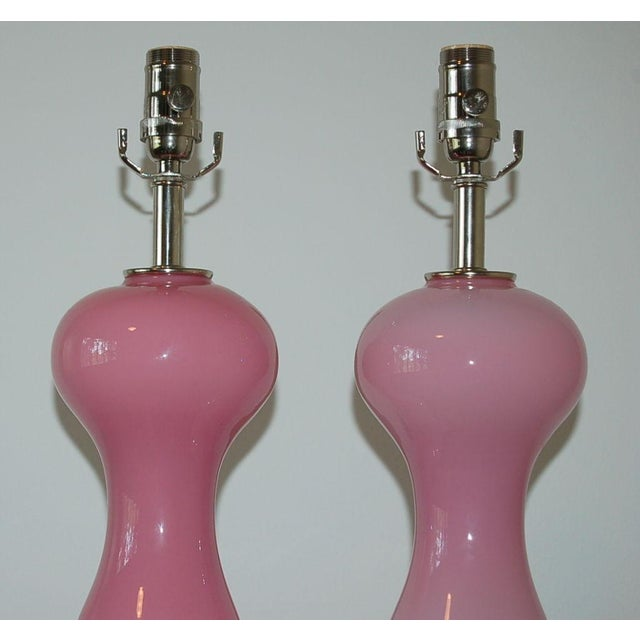 Silver Vintage Murano Glass Table Lamps Pink- A Pair For Sale - Image 8 of 9