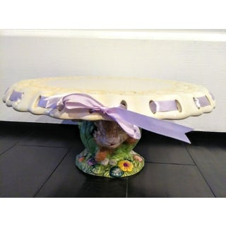Ceramic Large Basket Weave Rabbit in a Cabbage Patch Cake Plate Holder Preview
