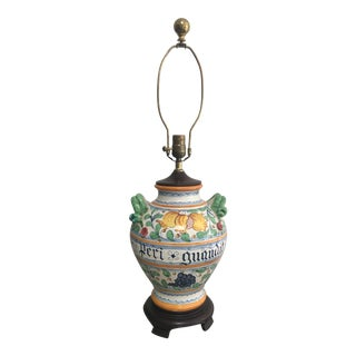 Vintage Italian Majolica Painted Pottery Table Lamp