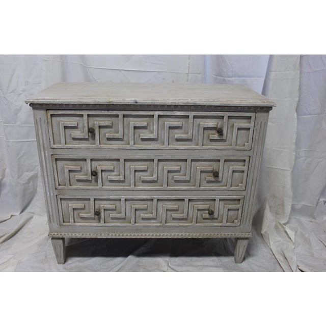 20th Century Gustavian Bedside Greek Key Gray Oak Chests - a Pair For Sale - Image 4 of 5