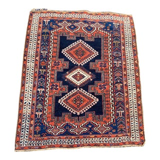 """Riley"" Antique Afshar - 4′1″ × 4′8″ For Sale"