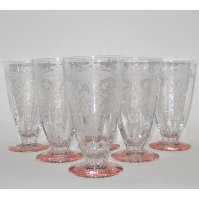 Etched Fluted Glasses - Set of 6 - Image 4 of 6