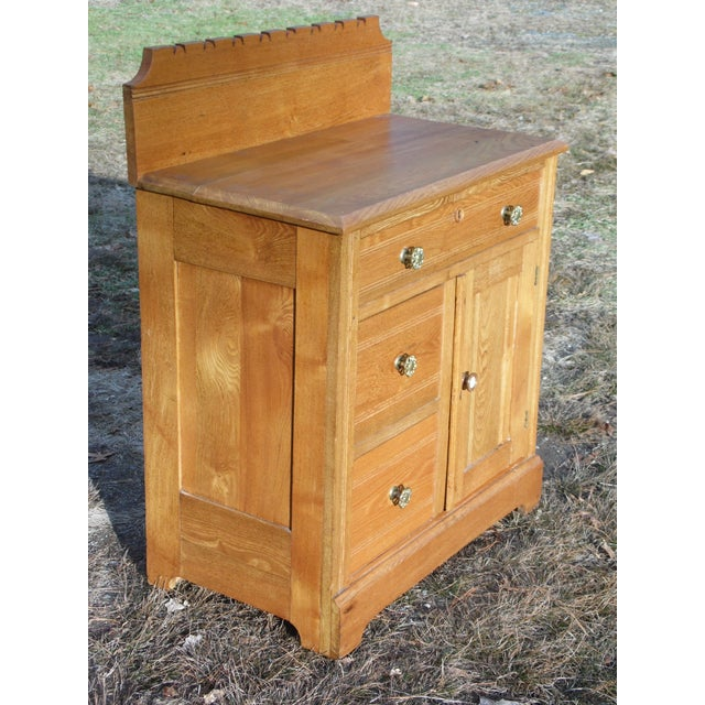 Early 19th Century Antique Victorian Eastlake Oak Small Chest Commode Nightstand Washstand Cabinet For Sale - Image 5 of 13