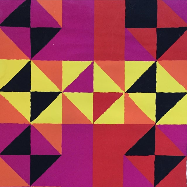 "1960s 1960s Op-Art Sidney Budnick Silkscreen ""Forest Fire"" For Sale - Image 5 of 10"