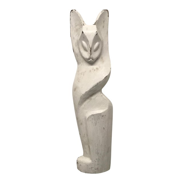 Vintage Hand Carved White Cat Figural Sculpture For Sale