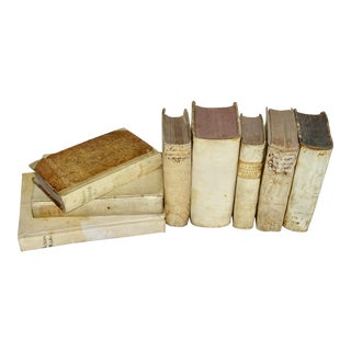 18th Century Collection of Vellum Books - Set of 8 For Sale