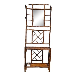 French 19th C Tortoise Shell Bamboo Hall Tree Coat Rack With Mirror For Sale