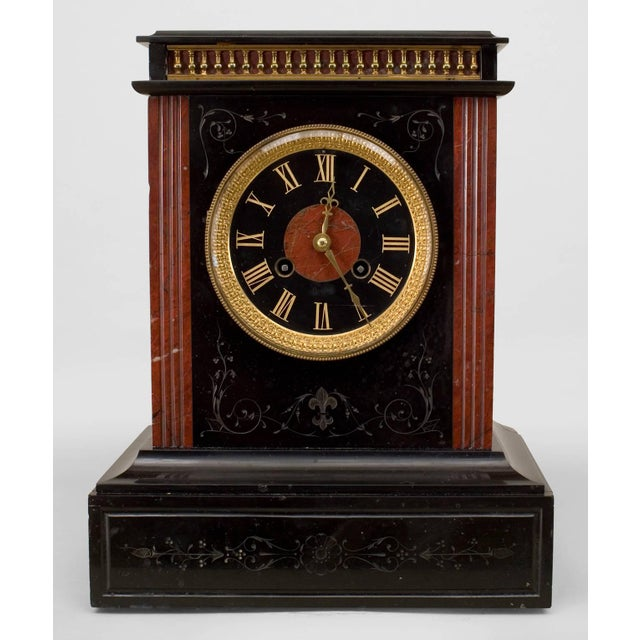 19th C. French Marble Mantel Clock For Sale - Image 4 of 4