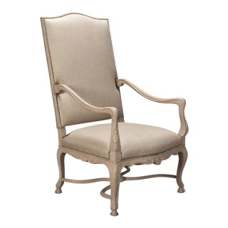 Tall French Arm Chair with Carved Painted Frame For Sale