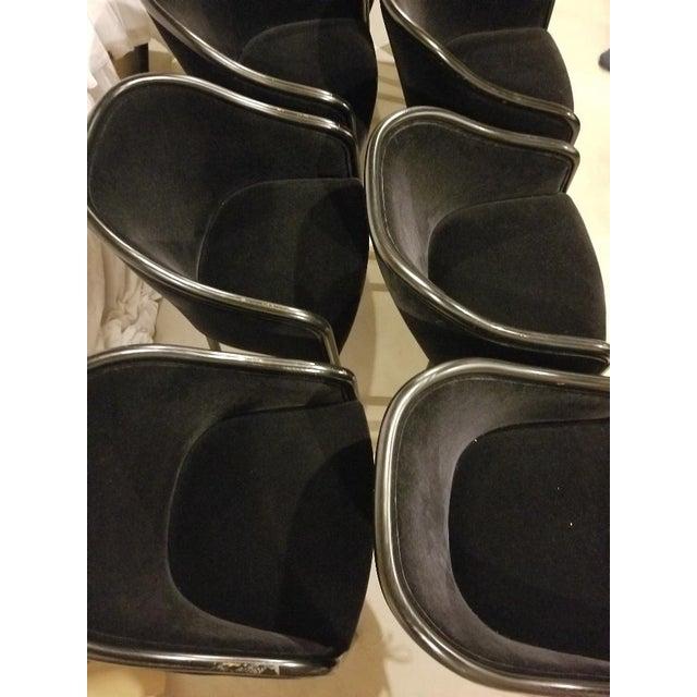 Hollywood Regency 1980s Vintage Ward Bennett for Brickel Associates Walnut & Velvet Mohair Chairs - Set of 10 For Sale - Image 3 of 13