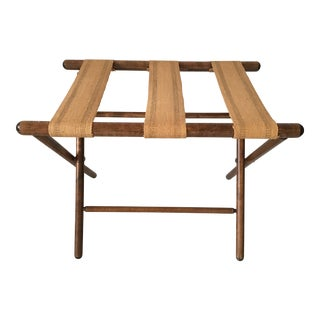 Wooden with Burlap Straps Luggage Rack