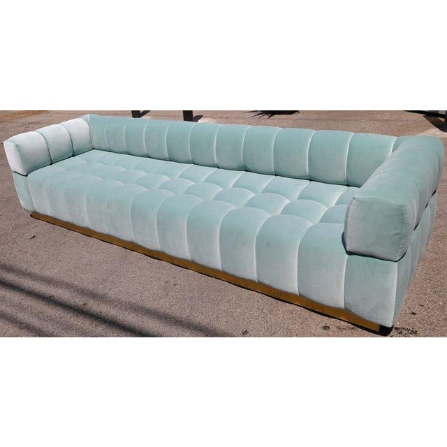 Mid-Century Modern Adesso Imports Custom Tufted Aqua Blue Velvet Sofa With Brass Base For Sale - Image 3 of 7