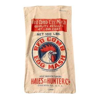 Vintage Feed Sack Red Comb Egg Mash For Sale