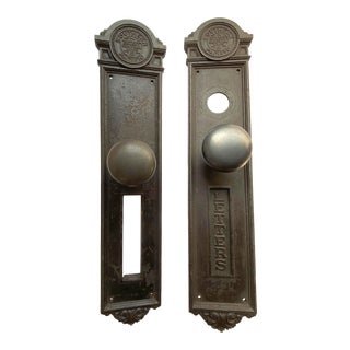 Antique Yale Cast Iron Southern Pacific Railroad Exterior Door Handle Set with Letter Slot - a Pair For Sale