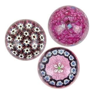 Murano Vintage Fratelli Toso and Barbini Murrine Millefiori Flowers Italian Art Glass Paperweights - a Set