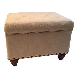 Upholstered Tufted Storage Ottoman For Sale