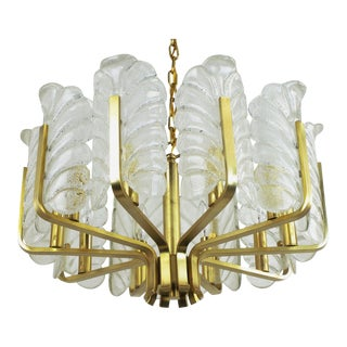 Murano Glass Acanthus Leaf and Brass Ten-Arm Chandelier For Sale