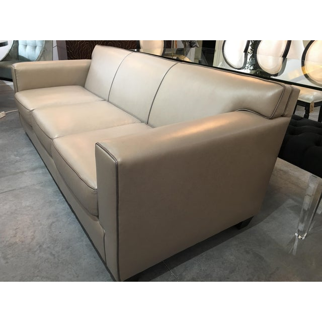 Modern LeatherCraft Custom Pearlized Italian Leather Sofa For Sale - Image 12 of 13
